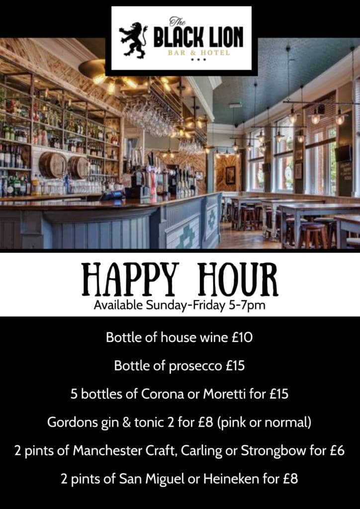 Happy hour black lion Manchester